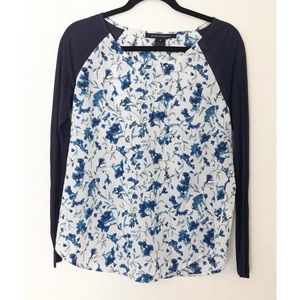 French Connection Blue & White Raglan Small Top